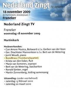 BoneBrass verleent medewerking bij Nederland Zingt