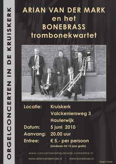 BoneBrass in concert met orgelsolist arian van der Mark
