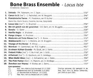 BoneBrass CD: Locus Iste, achterkant